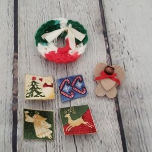 LOT OF VINTAGE HAND MADE CHRISTMAS BROOCH PINS